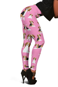 Cute Beagles On Pink Women's Leggings