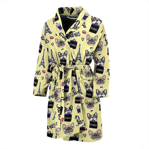 Yellow French Bulldog Paris Men's Bath Robe