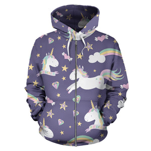 Purple Magical Unicorns Zip-UP Hoodie