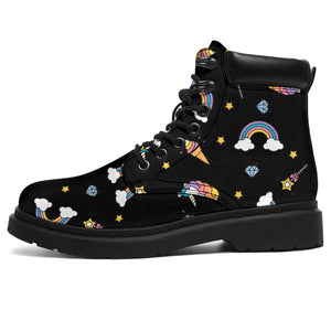 Black Rainbow Unicorn Boots
