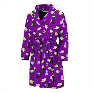 Purple Halloween Dracula Vampire Men's Bath Robe