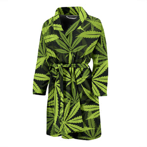 Cannabis Marijuana Weed Floral Men's Bath Robe