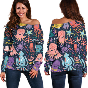 Funny Colorful Octopus Women's Off Shoulder Sweater