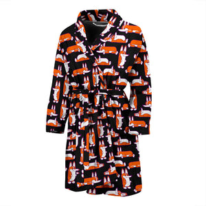 Black Cute Corgi Pattern Men's Bath Robe