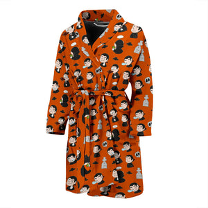 Orange Halloween Dracula Vampire Men's Bath Robe
