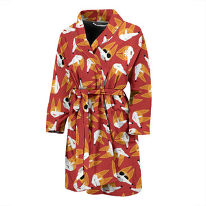 Red Corgi Face Emoji Men's Bath Robe