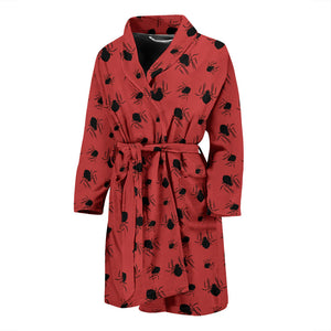 Red Halloween Spiders Men's Bath Robe