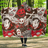 Halloween Horror Monsters Hooded Blanket