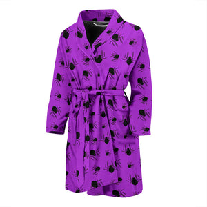 Purple Halloween Spiders Men's Bath Robe
