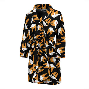 Black Corgi Face Emoji Men's Bath Robe