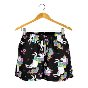 Black Baby Unicorns Pattern Women's Shorts