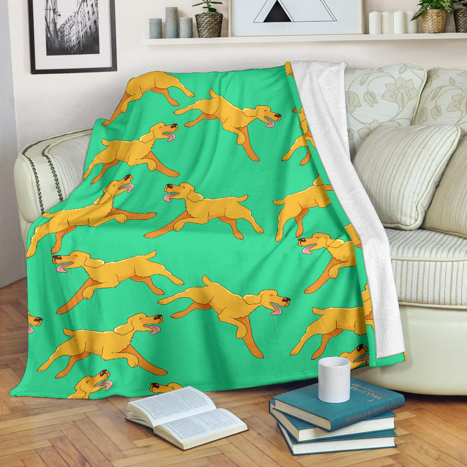 Green Running Golden Retriever Premium Blanket
