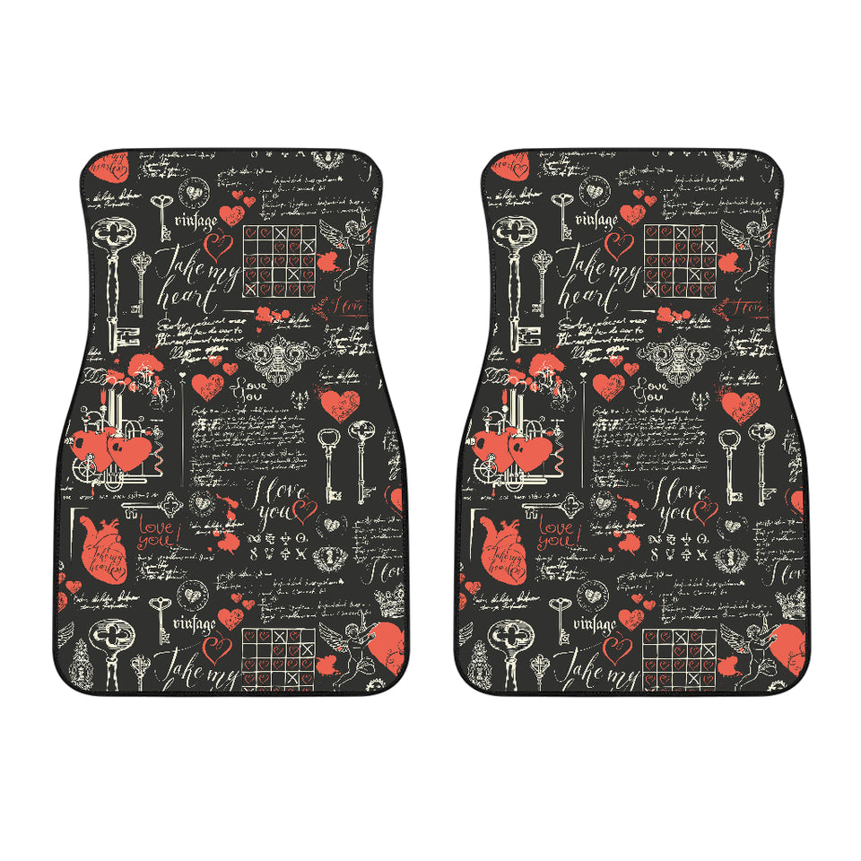 Black Valentine's Day Front Car Mats (Set Of 2)