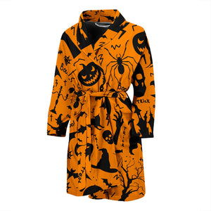 Halloween Orange Themes Men's Bath Robe