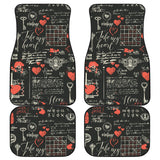 Black Valentine's Day Front And Back Car Mats (Set Of 4)