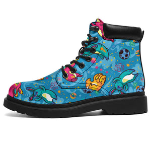 Blue Childish Kids Pattern Boots
