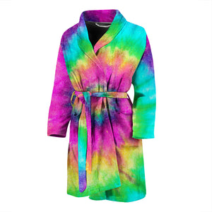 Spiral Colorful Tie Dye Men's Bath Robe