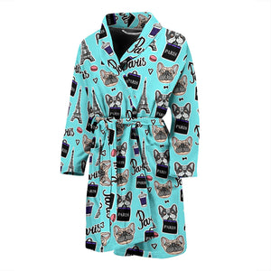 Blue French Bulldog Paris Men's Bath Robe