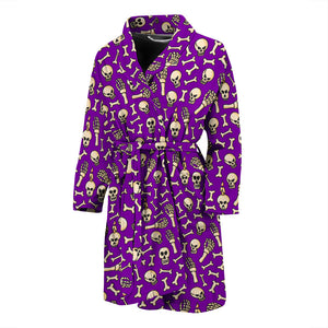 Purple Halloween Skull Skeleton Men's Bath Robe