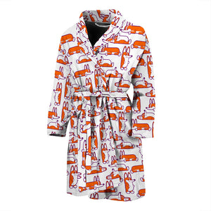 White Cute Corgi Pattern Men's Bath Robe