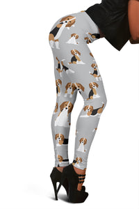Cute Beagles On Gray Women's Leggings