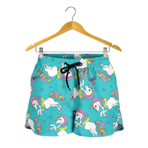Turquoise Baby Unicorns Pattern Women's Shorts