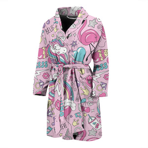 Pink Magic Unicorn Men's Bath Robe