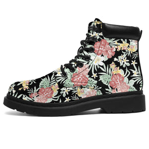 Black Hawaiian Tropical Floral Print Boots