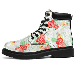 White Hawaiian Tropical Floral Print Boots