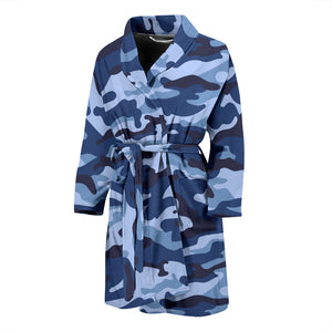 Camouflage Blue Camo Urban Men's Bath Robe