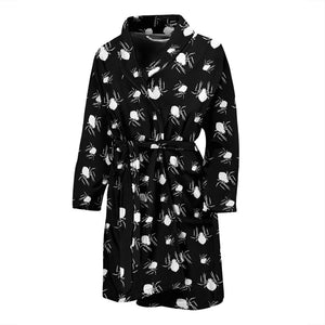 Black Halloween Spiders Men's Bath Robe