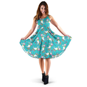 Turquoise Baby Unicorns Pattern Dress