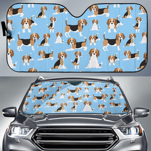 Cute Beagles On Blue Auto Sun Shades