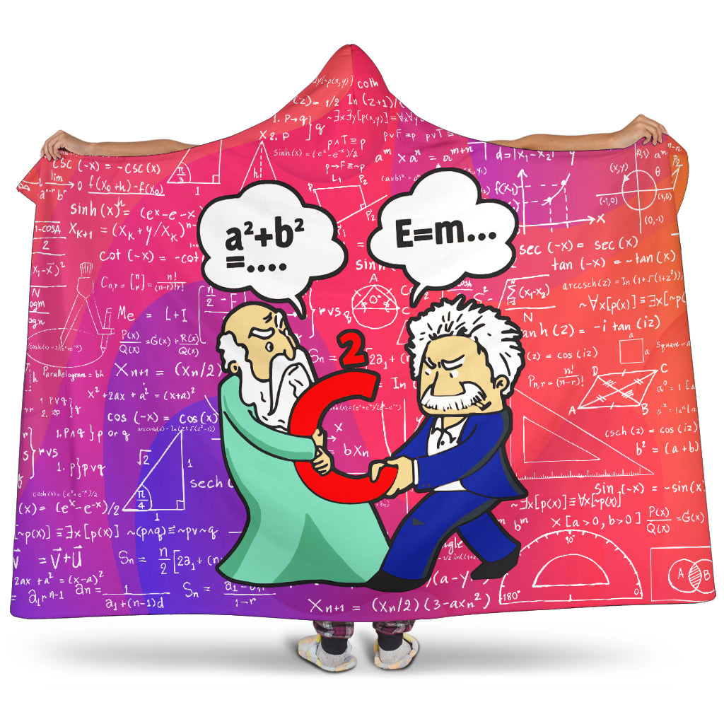 Pythagoras VS Einstein Hooded Blanket