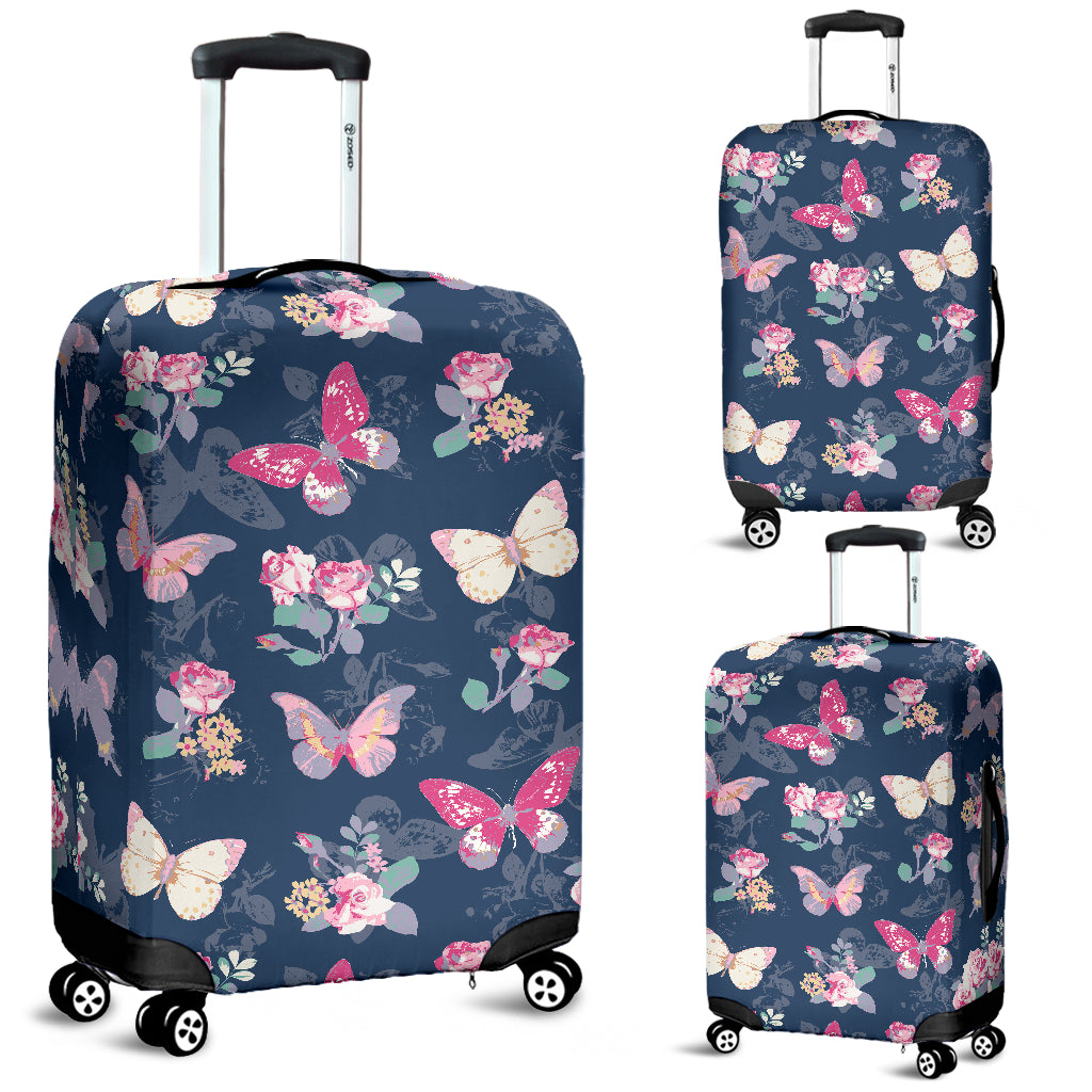 Rose Butterfly Navy Luggage Covers
