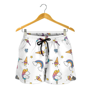 White Rainbow Unicorn Women's Shorts