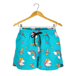 Blue Rainbow Unicorn Women's Shorts
