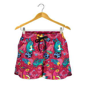 Red Childish Kids Pattern Women's Shorts