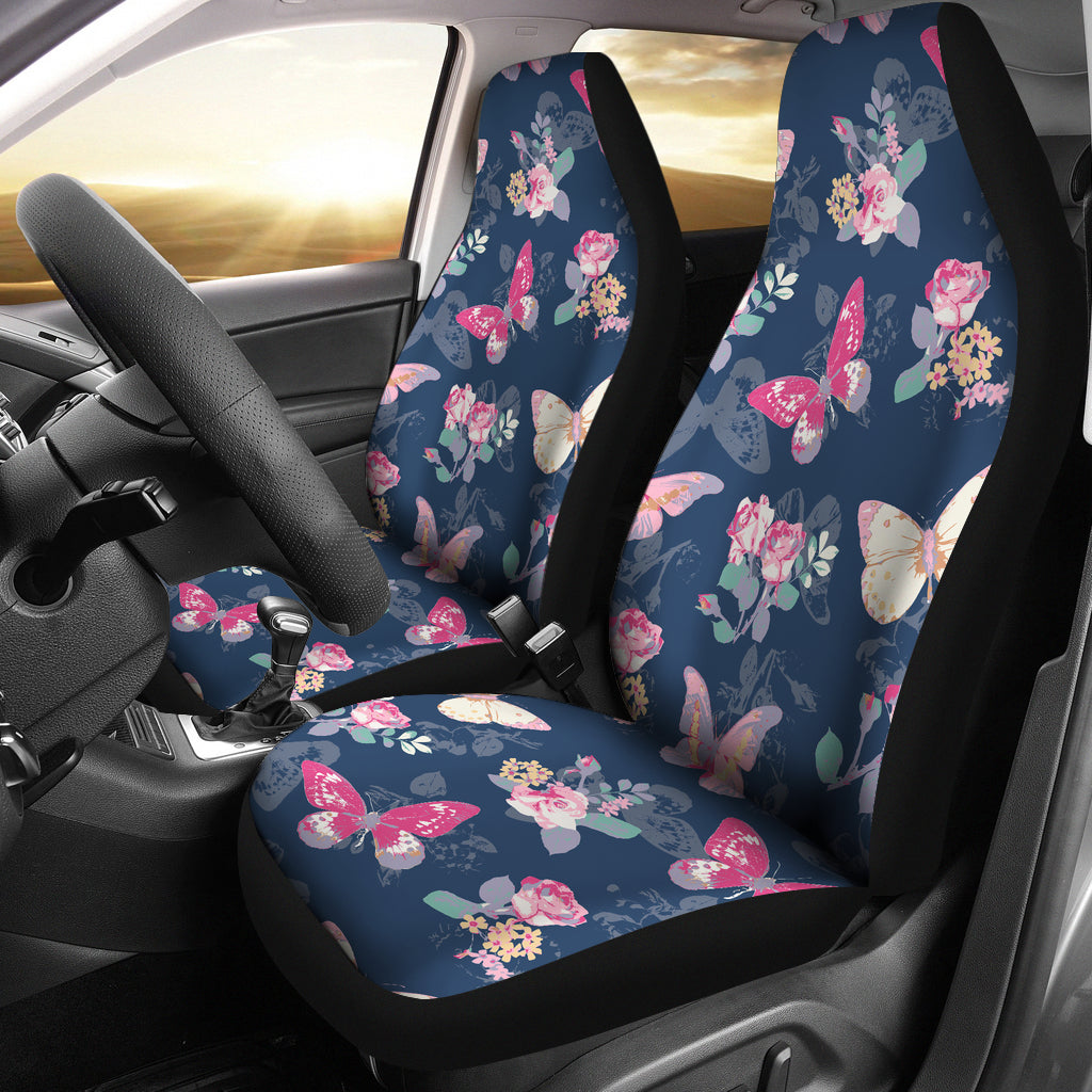 Rose Butterfly Navy Car Seat Covers