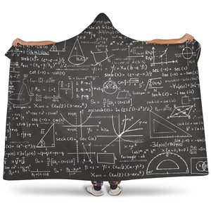 Mathematics Black Hooded Blanket