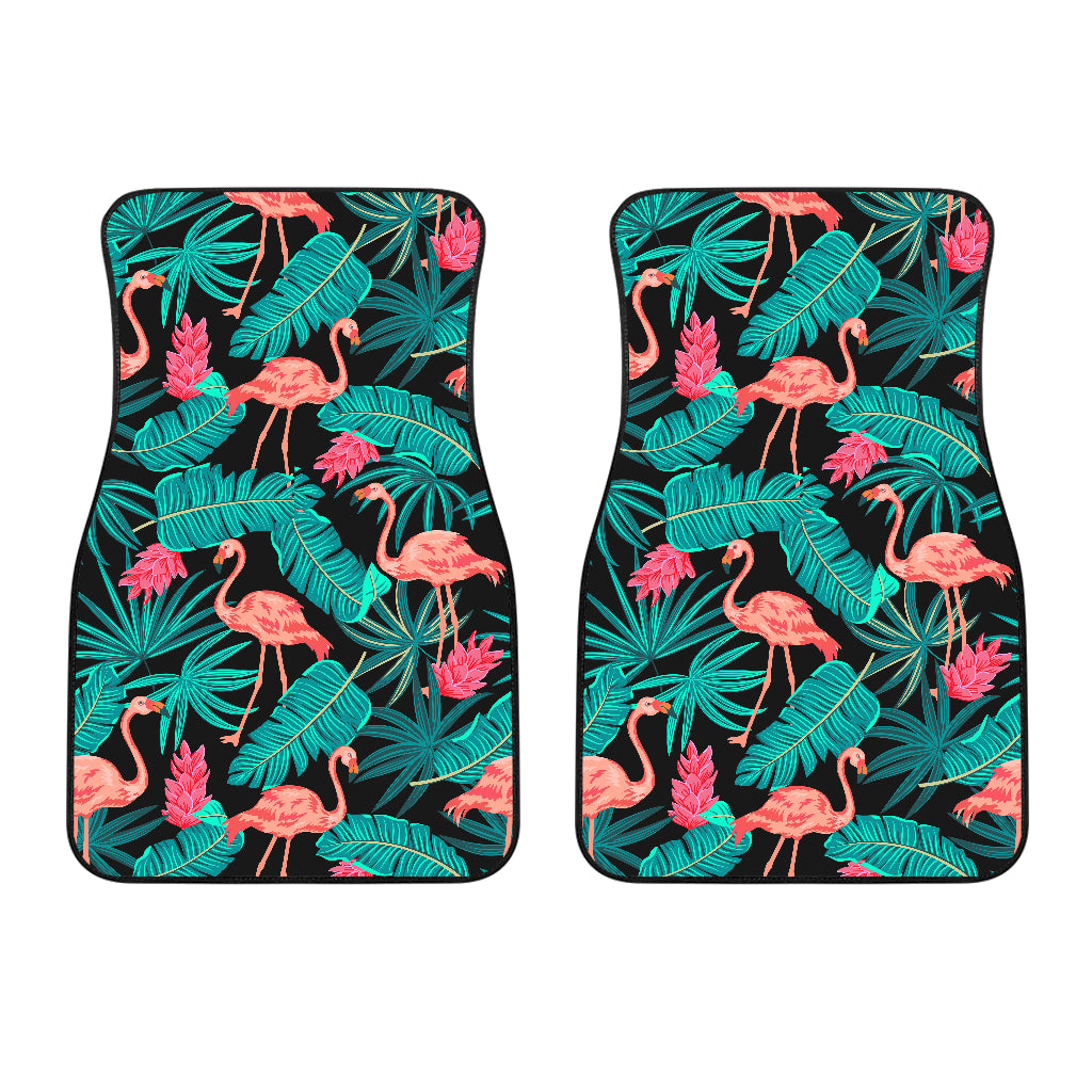 Tropical Leaves Flamingos Front Car Mats (Set of 2)
