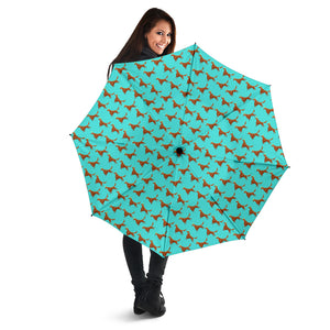 Green Cute Irish Red Setter Umbrellas