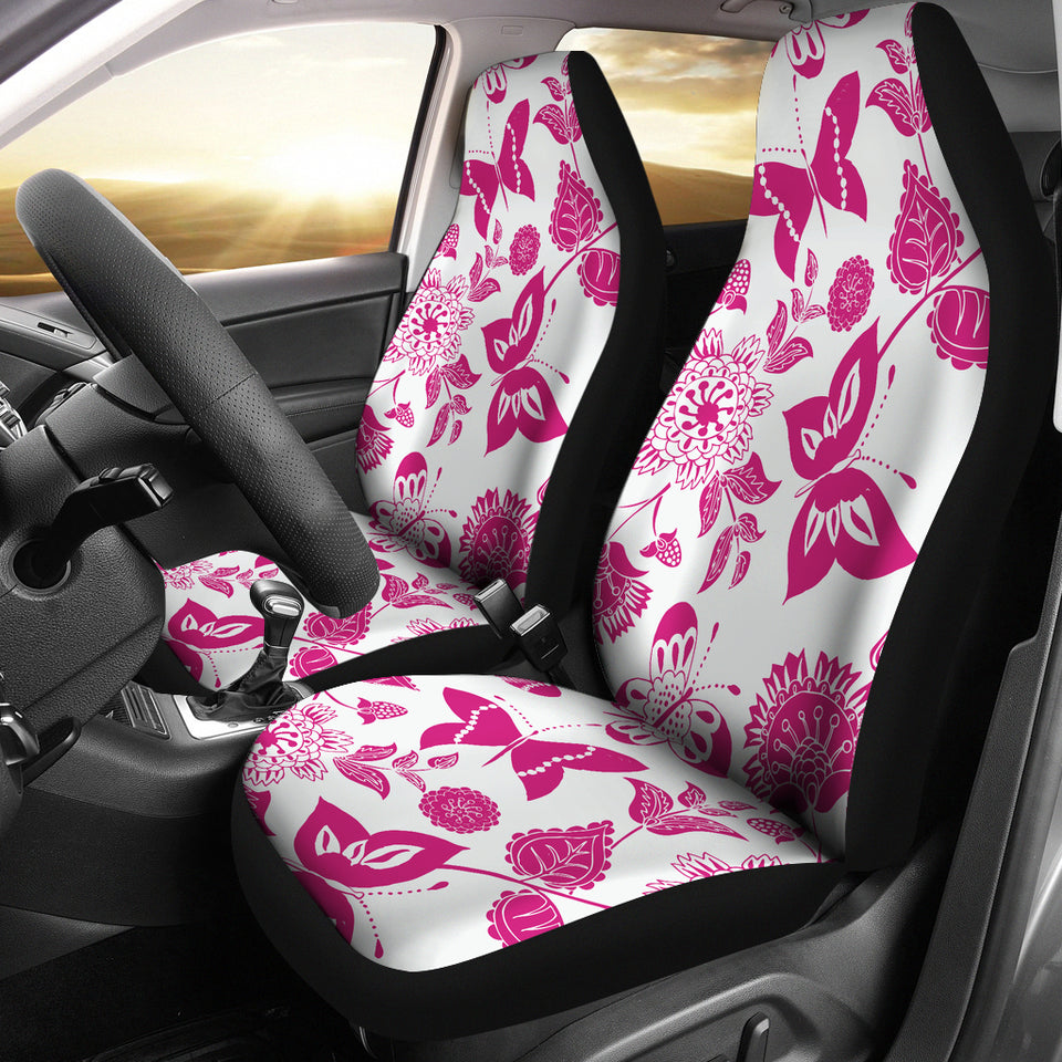 Pink Floral Butterfly Car Seat Covers
