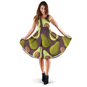 Avocado Seed Green Purple Dress