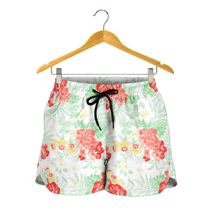 White Hawaiian Tropical Floral Print Women's Shorts