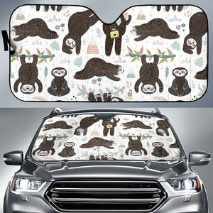 Cute Sleeping Sloths Auto Sun Shades