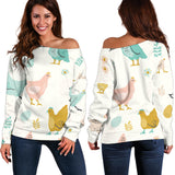 Vintage Chicken Easter Women's Off Shoulder Sweater