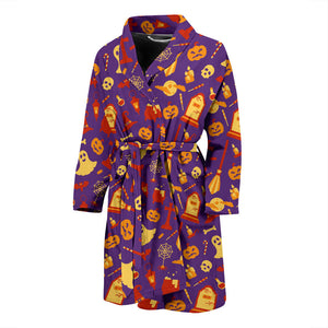 Purple Halloween Cute Men's Bath Robe