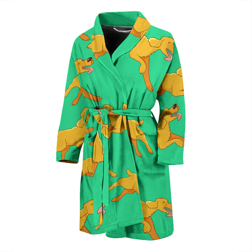 Green Running Golden Retriever Men's Bath Robe