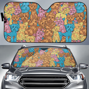 Colorful Yorkshire Terriers Car Sun Shade